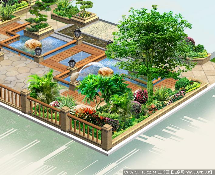 私家庭院别墅景观设计鸟瞰效果图