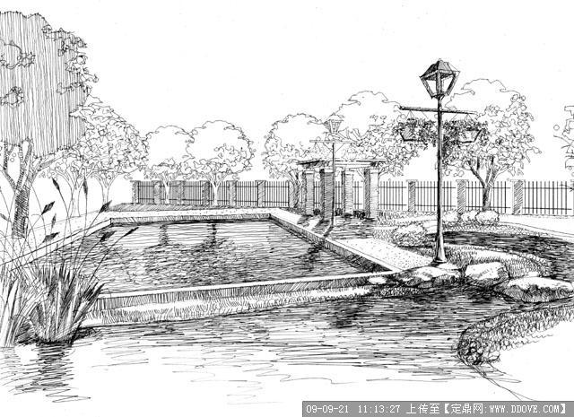 景观桥手绘效果图