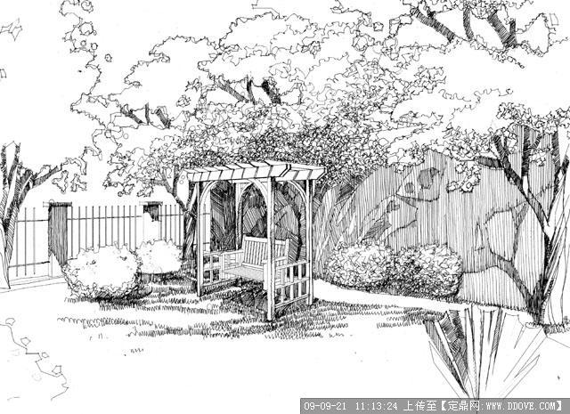 庭园景观手绘黑白稿