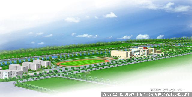 某学校景观绿化设计效果图高清图片