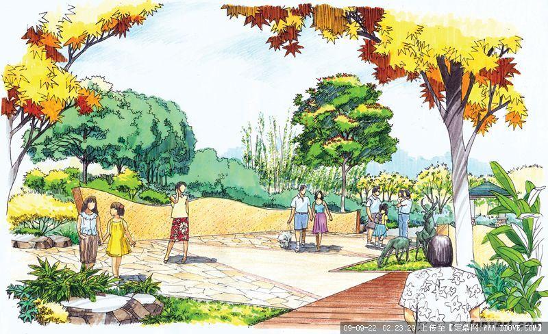 寺庙绿化景观效果图的下载地址,园林效 果图,手绘效果