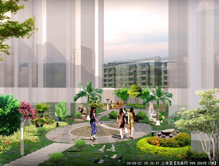 某住宅小区景观规划方案彩平图+局部效果图