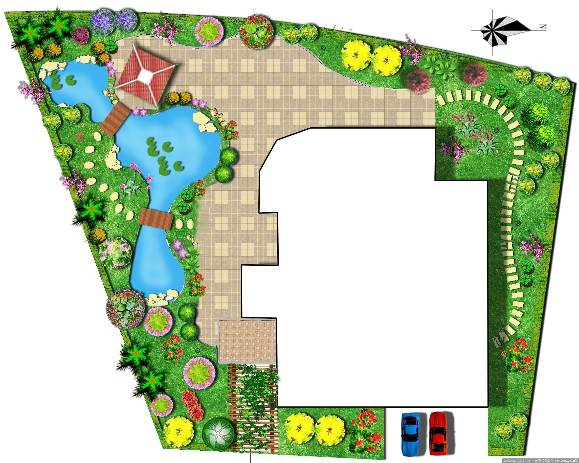 小庭院景观设计; 平面图-;