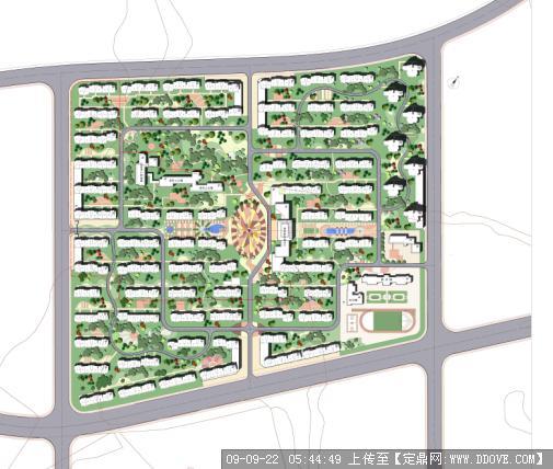 定鼎网 定鼎园林 园林方案设计 居住区 大连某住宅小区景观方案总平面