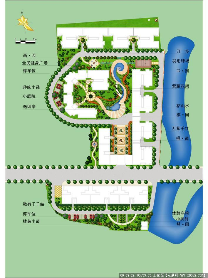 某小区景观设计平面图彩平图的下载地址
