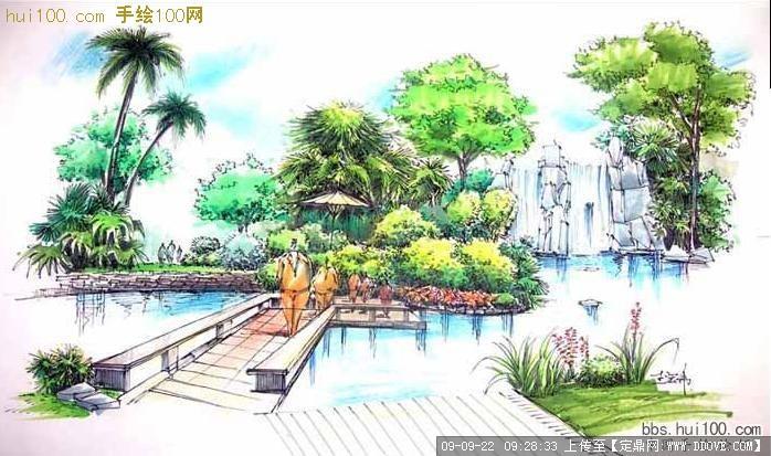 定鼎网 定鼎园林 园林方案设计 公园景观 手绘表现图  序号 文件名