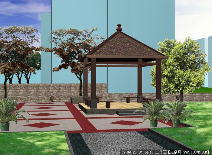 简单亭子手绘效果图; 木结构四角亭全套施工图; 亭子效果图 55