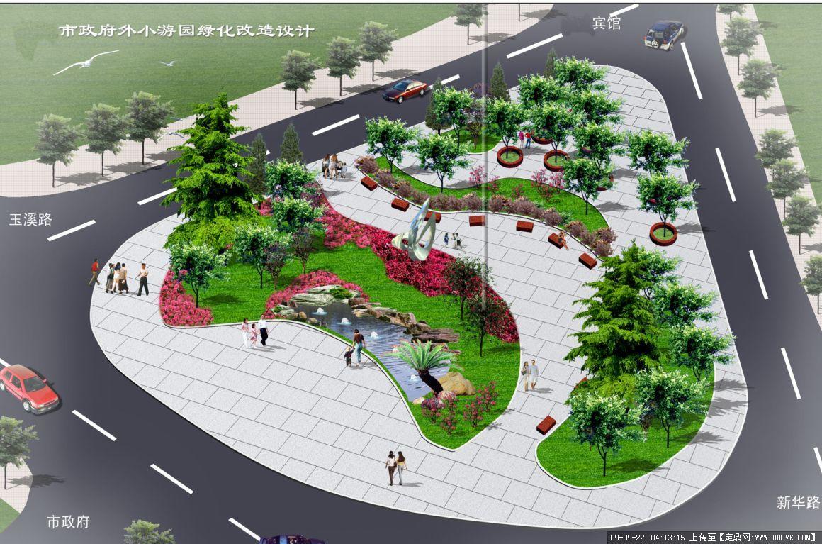 长方形小广场手绘平面图