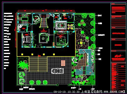 豪华私人别墅庭院建筑景观设计方案cad施工详图