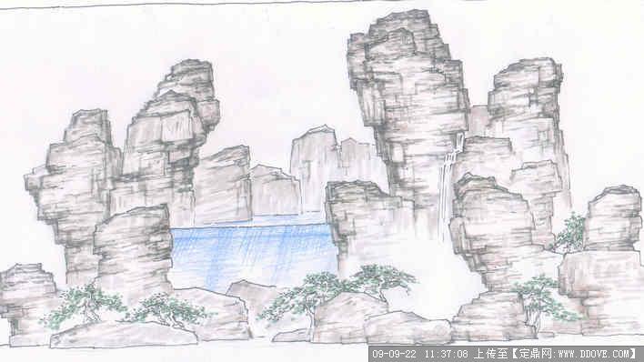 一幅经典的假山手绘图