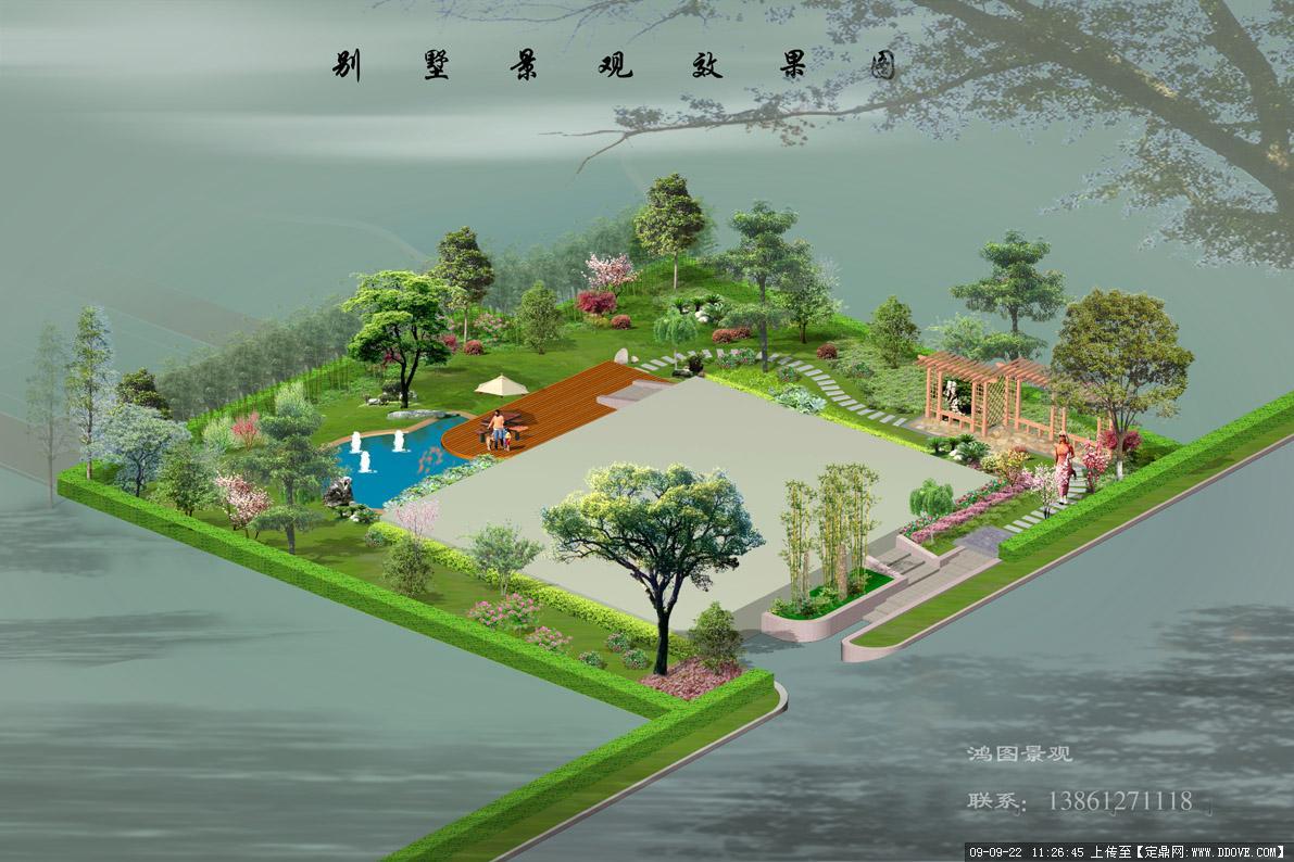 精品别墅庭院景观设计方案鸟瞰效果图