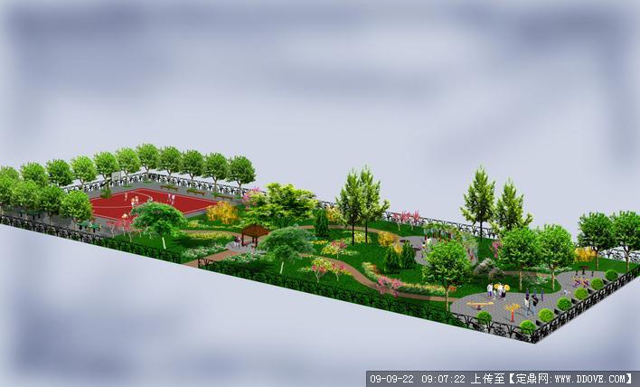 休闲小广场游园景观设计鸟瞰效果图