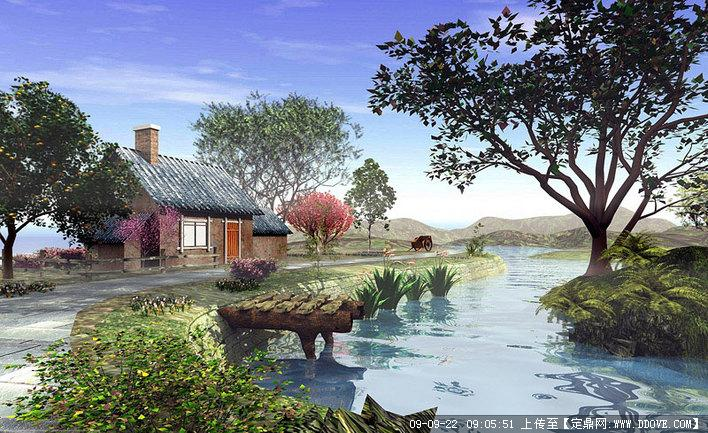 室外生态湿地公园景观局部透视效果图