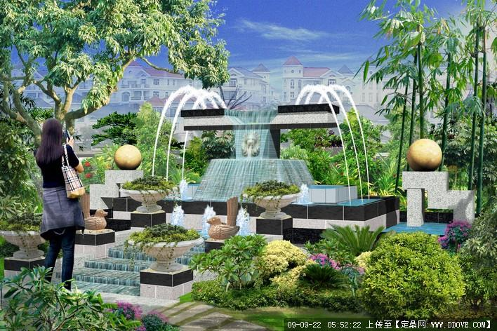 居住区水体景观设计方案透视效果图