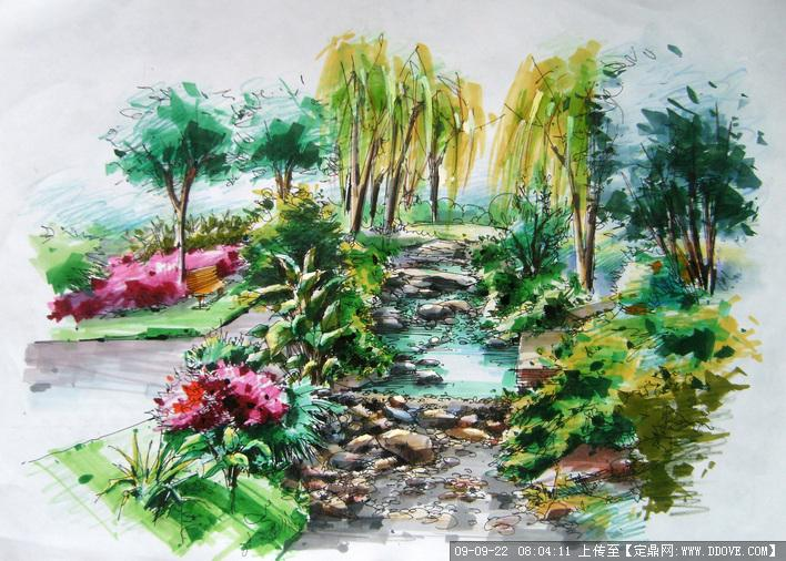 手绘跌水景观效果图