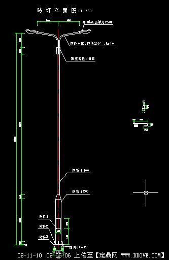 双头路灯立面图
