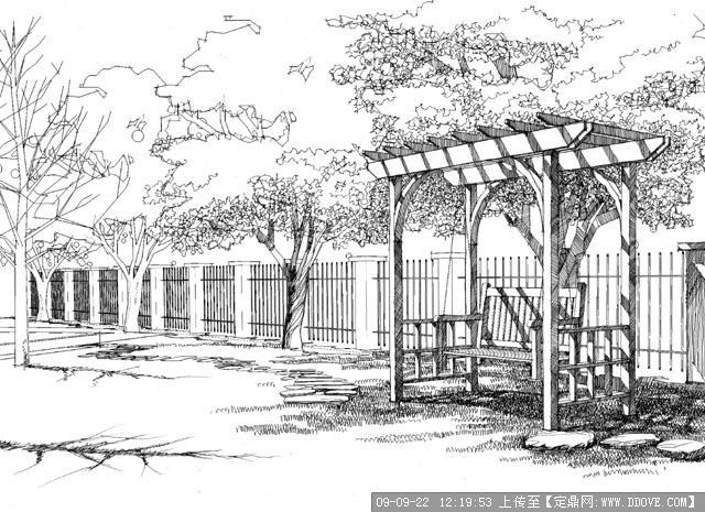 木制简易花架景观手绘