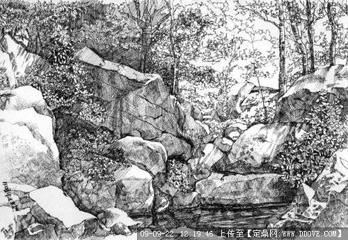 自然水景景观手绘