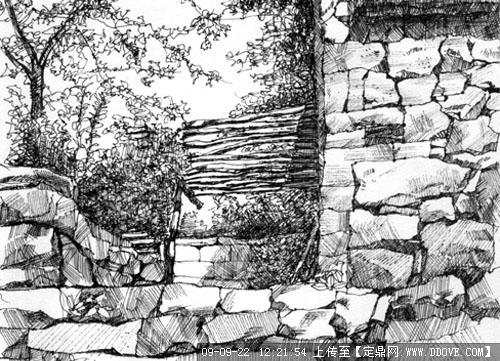 彩铅园林手绘石头