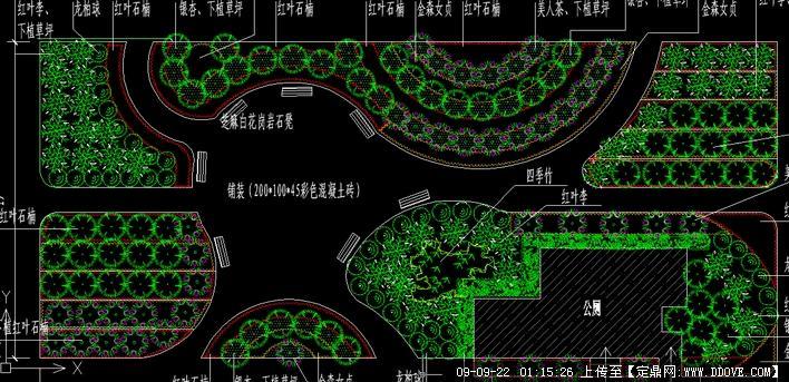 城市休闲小广场绿化平面