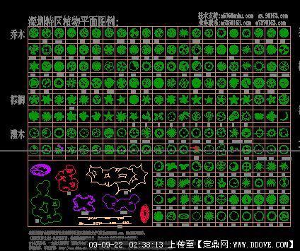 中国园林各类植物平面图库