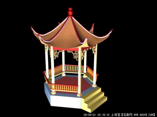 定鼎网 定鼎素材 三维模型 园林景观 3d亭子的制作  序号 文件名
