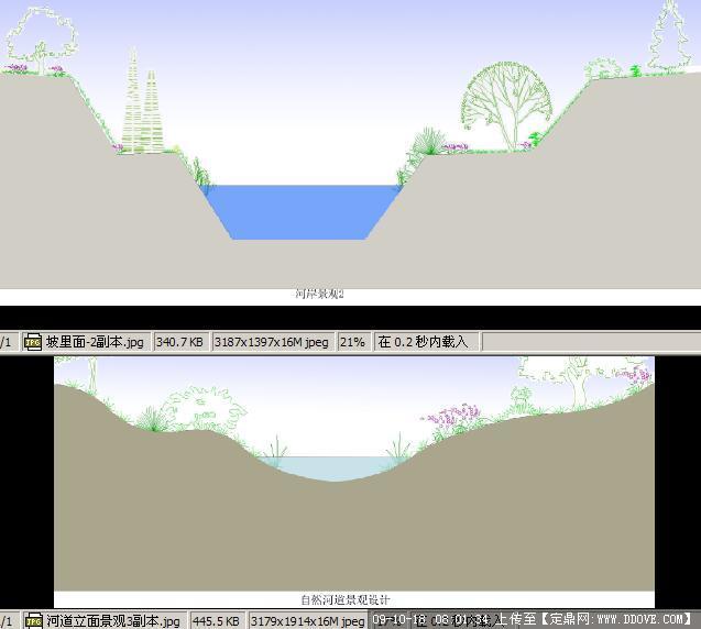 河道绿化方案立面图的下载地址,园林方案设计,滨水,.