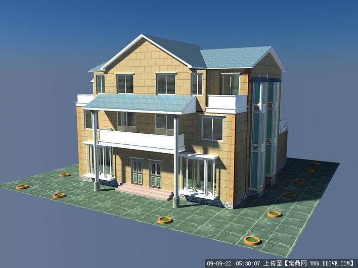 独栋别墅建筑设计方案3dmax模型素材
