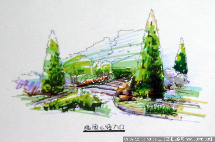 一套手绘的休闲广场设计图 绝对原创(a hand-painted