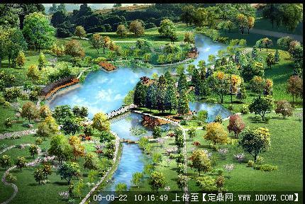 滨水鸟瞰效果图的下载地址,园林方案设计,公园景观,_.