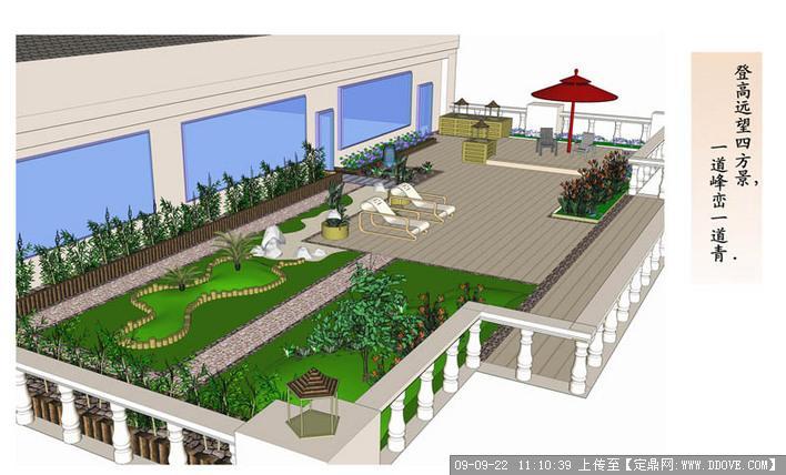 宾馆屋顶花园结合建筑的欧式风格