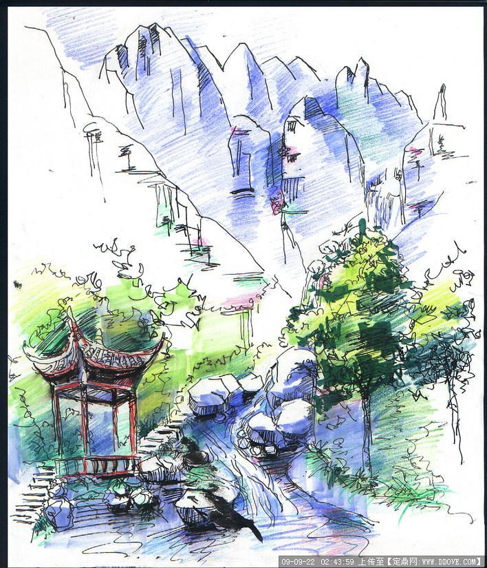 景观亭手绘效果图