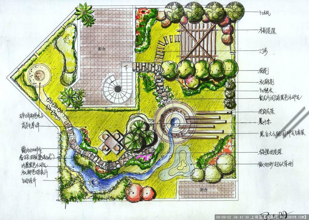 园林手绘平面设计图图片 园林手绘树木平面画法,园林手绘平