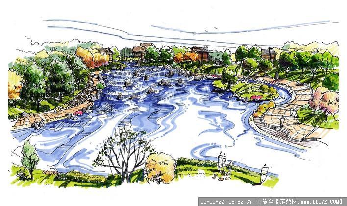 手绘水体景观效果图欣赏4