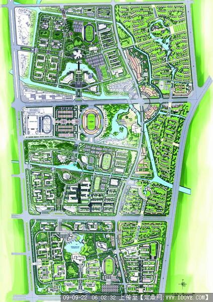 大型大学城校园景观规划设计总体方案部分效果图
