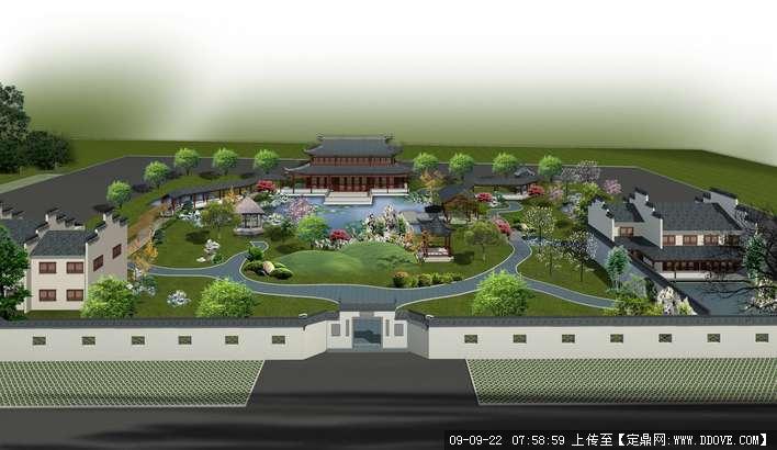 私家庭院庄园景观规划方案鸟瞰效果图