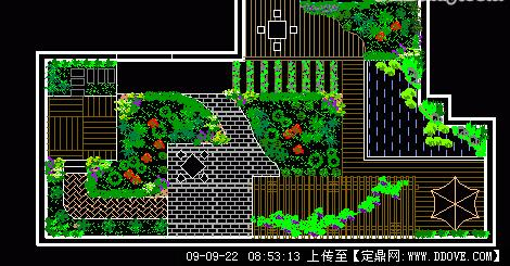 屋顶花园庭院设计方案cad图纸