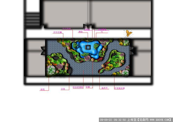 一小区别墅庭院绿化设计简图的下载地址,园林方案设计