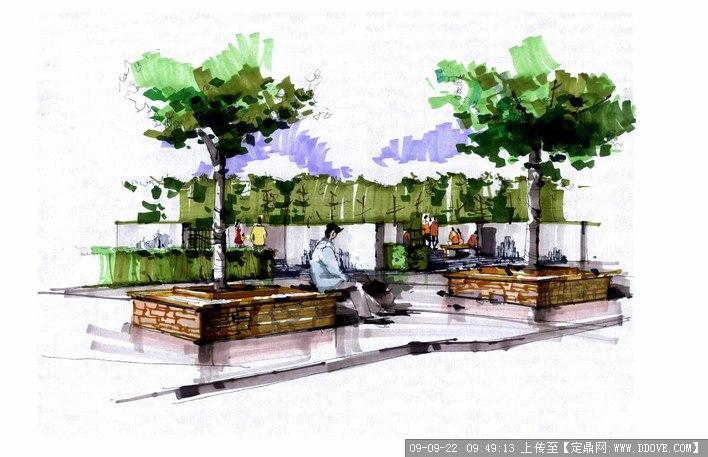 几张马克笔景观表现;;; 马克笔 树;    园林效 果图>> 手绘效果