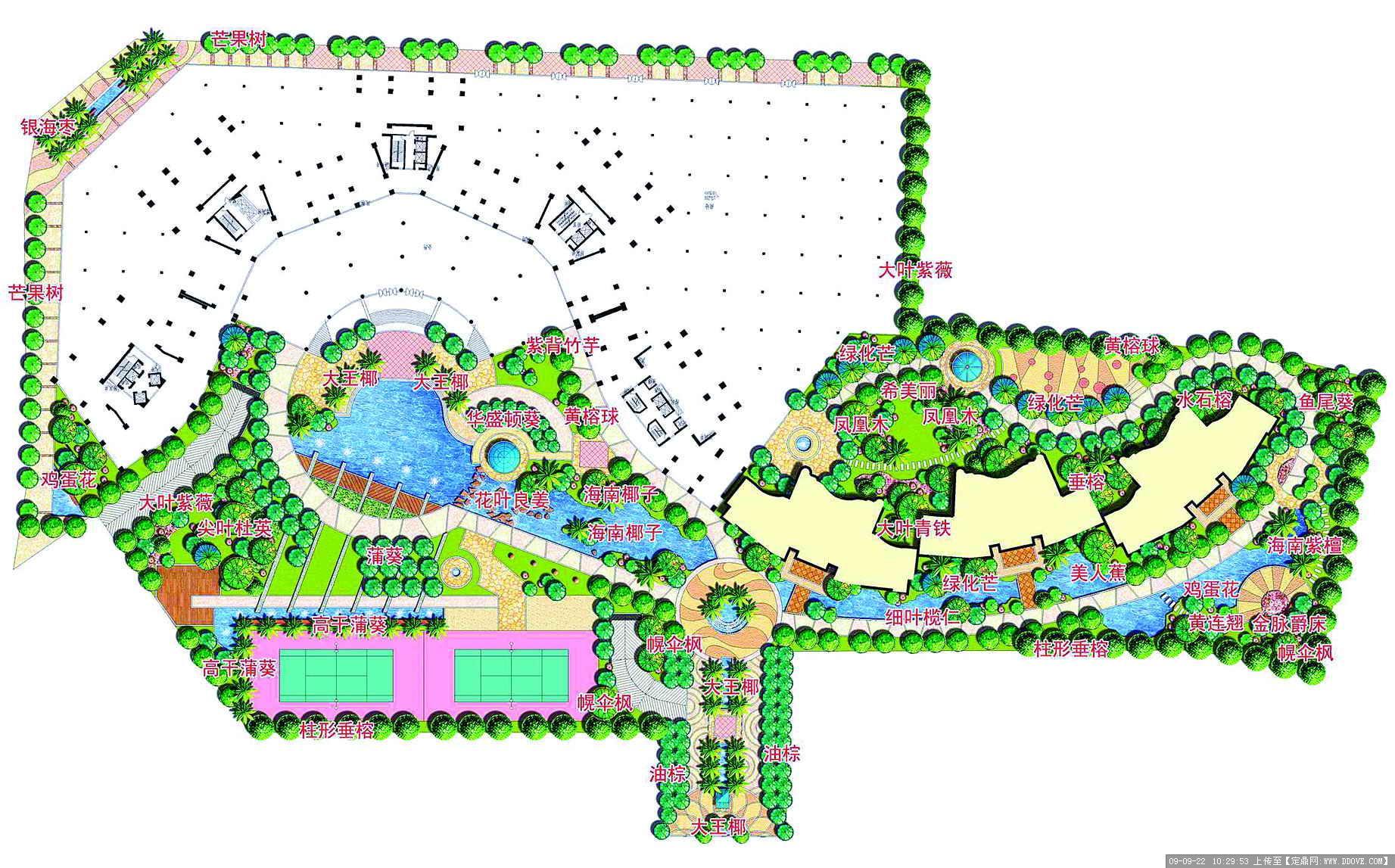 经典小区园林景观设计方案总平图