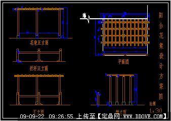 简易阳台花架设计cad图的下载地址