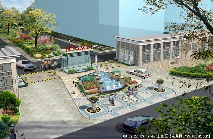 住宅小区大门景观设计方案及效果图