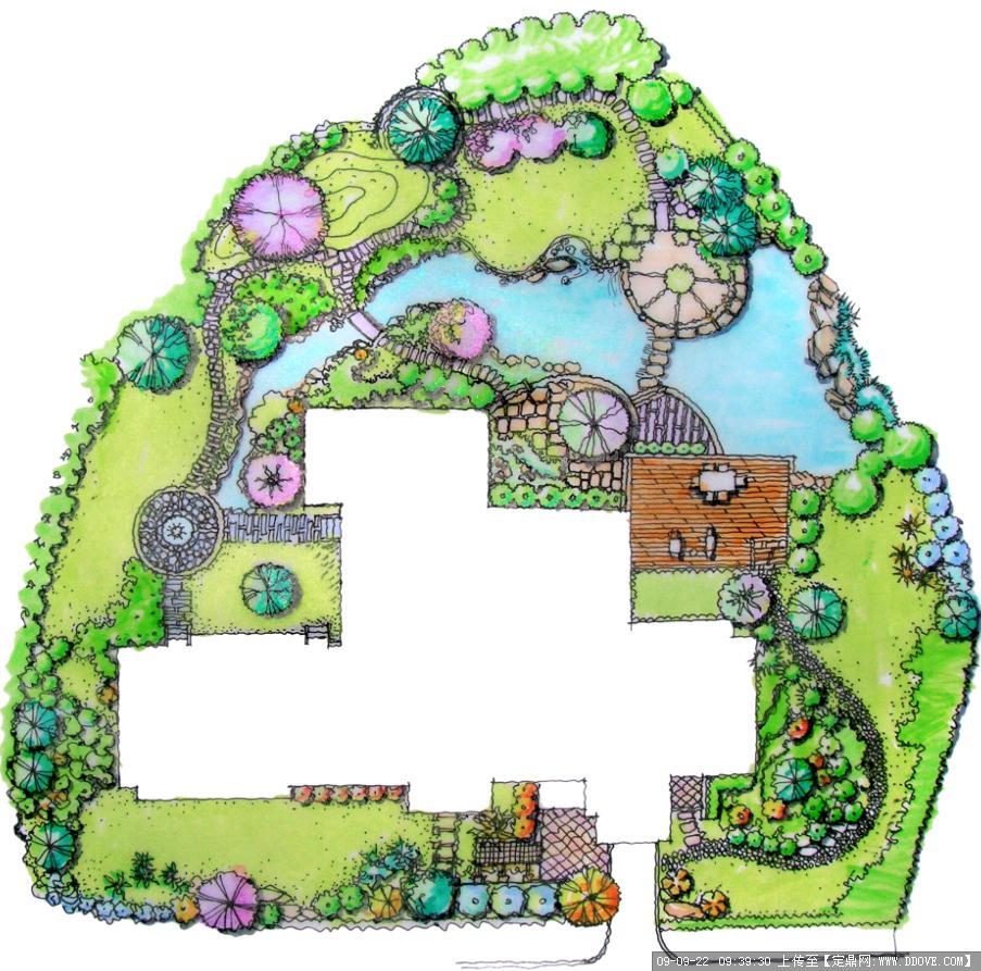 手绘园林景观效果图