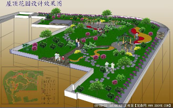 私家庭院屋顶花园绿化方案总图效果图