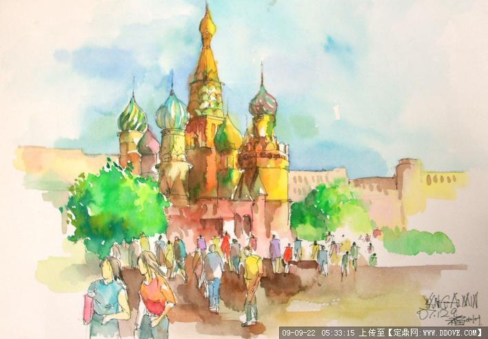 西方建筑景观手绘效果图