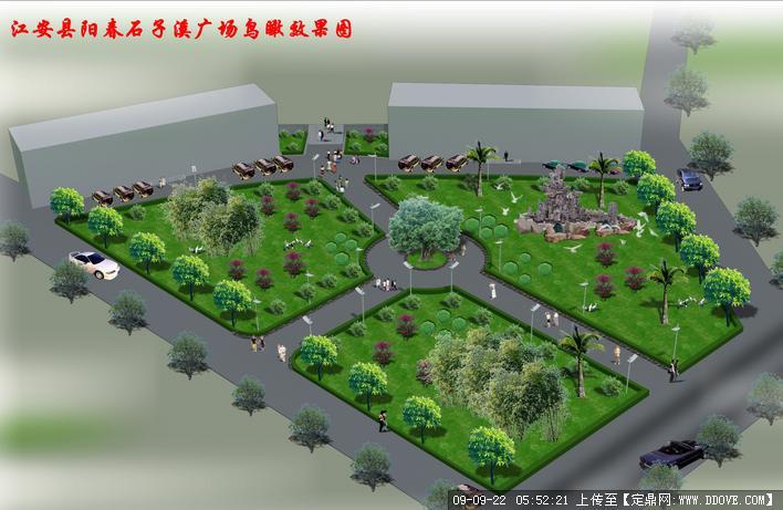 广场绿化设计方案cad平面布置图纸