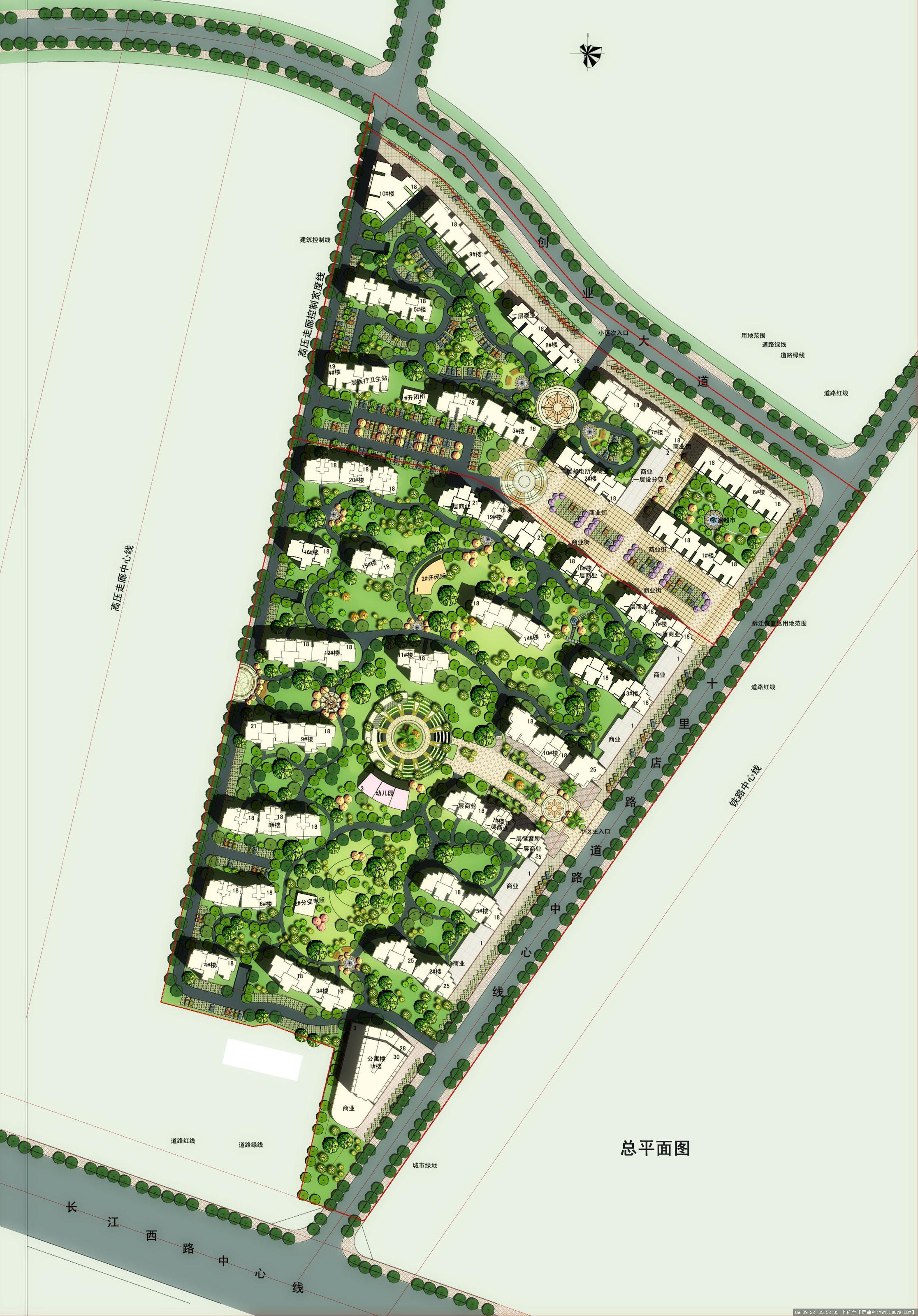 住宅小区景观规划方案CAD总平图的下载地址,园林方案设计,居住