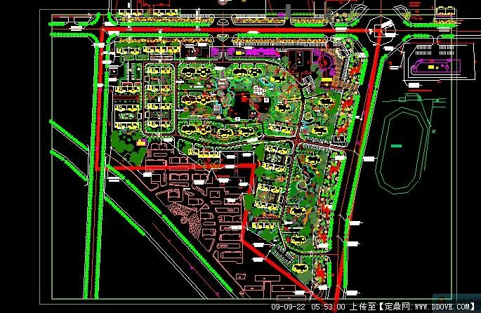 设计 居住区 某大型居住小区景观规划方案cad总平面