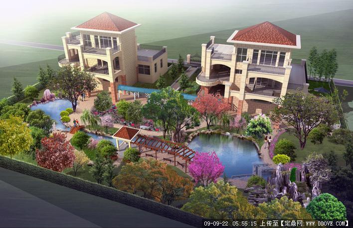 豪华别墅布局环境绿化效果图调整庭院cad设计图纸方案图片