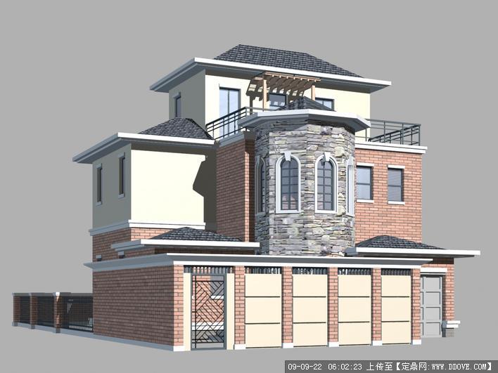 定鼎网 定鼎素材 三维模型 建筑模型 4个别墅的3dmax模型  2 650.